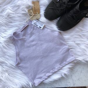 NWT Foreign Exchange Crop Top Purple Lilac